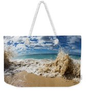 View Of Surf On The Beach, Hawaii, Usa Weekender Tote Bag