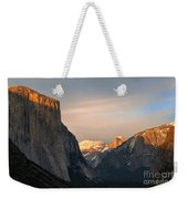 View Of Yosemite Valley From Tunnel View Point At Sunset Weekender Tote Bag
