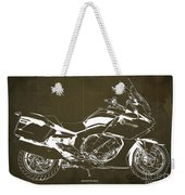 2016 Bmw K1600gt Blueprint, Original Motorcyclkes Blueprints, Bmw Artworks, Vintage Brown Background Weekender Tote Bag