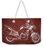 2018 Kawasaki Versys 1000 Lt Abs Blueprint Old Vintage Red Background Original Artwork Weekender Tote Bag