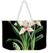Vintage Orchid Print On Black Paperboard Weekender Tote Bag