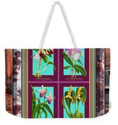 Antique Orchids Quatro On Rusted Metal And Weathered Wood Plank Weekender Tote Bag