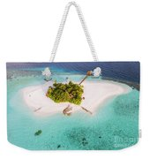 Aerial Drone View Of A Tropical Island, Maldives Weekender Tote Bag