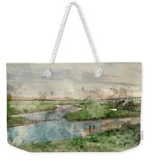 Digital Watercolor Painting Of Beautiful Dawn Landscape Over Eng Weekender Tote Bag