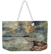 Digital Watercolor Painting Of Sunrise Over Rocky Coastline On M Weekender Tote Bag