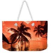 Palm Trees At Sunset, Moorea, Tahiti Weekender Tote Bag