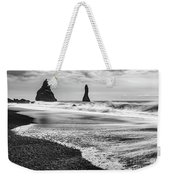 The Dramatic Black Sand Beach Of Reynisfjara. Weekender Tote Bag