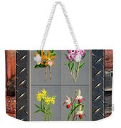 Orchids Antique Quadro Weathered Plank Rusty Metal Weekender Tote Bag