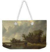 A River Landscape With Fishermen  Weekender Tote Bag