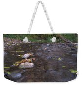 Long Exposure Photographs Of Rolling River With Fall Foliage Weekender Tote Bag