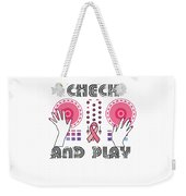 Naughty Breast Cancer Awareness Art For Women Light Weekender Tote Bag