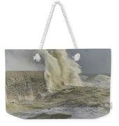 Stunning Dangerous High Waves Crashing Over Harbor Wall During W Weekender Tote Bag