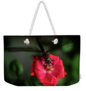 Dragonfly On A Flower Of A Red Rose. Macro Photo Weekender Tote Bag