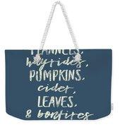 Flannels Hayrides And Pumpkins Fall Tshirt Weekender Tote Bag