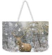 Beautiful Red Deer Stag In Snow Covered Festive Season Winter Fo Weekender Tote Bag