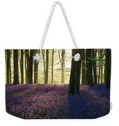 Stunning Bluebell Forest Landscape Image In Soft Sunlight In Spr Weekender Tote Bag