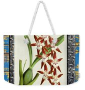 Orchid Framed On Weathered Plank And Rusty Metal Weekender Tote Bag