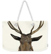A Carved Wooden Red Deer Trophy With Red Deer Antlers, 19th Century Weekender Tote Bag