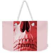 A Close Up Of A Human Skull In Red Weekender Tote Bag