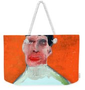 A Man With An Orange Background Weekender Tote Bag