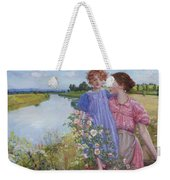 A Mother And Child By A River With Wild Roses 1919 Weekender Tote Bag