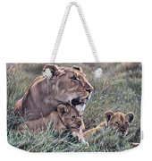 A Quiet Moment Lioness And Lion Cubs Weekender Tote Bag by Alan M Hunt