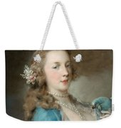 A Young Lady With A Parrot Weekender Tote Bag