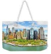 Aerial Panorama Of Downtown New York Skyline Weekender Tote Bag