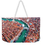 Aerial View Of Grand Canal And Rialto Bridge, Venice, Italy Weekender Tote Bag