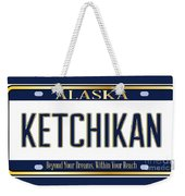 Alaska State License Plate Mockup With The City Ketchikan Weekender Tote Bag
