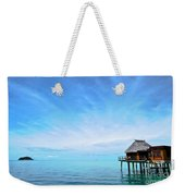 An Exclusive Resort Bungalow Over A Calm Tropical Sea. Weekender Tote Bag