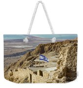 An Israeli Flag Flies Near The Entrance To The Top Of Masada In  Weekender Tote Bag