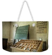 An Old Classroom With Blackboard And Boards With Old Script Weekender Tote Bag