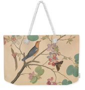 An Orange Headed Ground Thrush And A Moth On A Purple Ebony Orchid Branch, 1778 Weekender Tote Bag