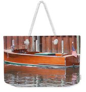 Antique Wooden Boat By Dock 1302 Weekender Tote Bag by Rick Veldman