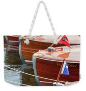 Antique Wooden Boats In A Row Portrait 1301 Weekender Tote Bag by Rick Veldman