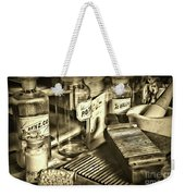 Apothecary-vintage Pill Maker Sepia Weekender Tote Bag