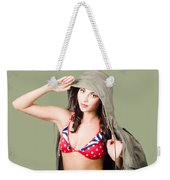 Army Pinup Saluting Retro Fashion In 1940 Style Weekender Tote Bag
