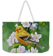 Female American Goldfinch And Apple Blossoms Weekender Tote Bag