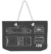 Austin Healey 100 Blueprint - Black Weekender Tote Bag