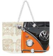 Volkswagen Type 2 - Black And Orange Volkswagen T1 Samba Bus Over Vintage Sketch  Weekender Tote Bag