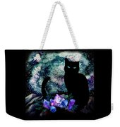 The Cat With Aquamarine Eyes And Celestial Crystals Weekender Tote Bag