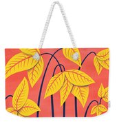 Abstract Flowers Geometric Art In Vibrant Coral And Yellow  Weekender Tote Bag