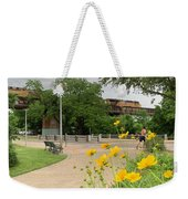 Urban Pathways Butler Park At Austin Hike And Bike Trail With Train Weekender Tote Bag