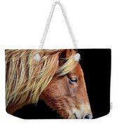 Assateague Pony Sarah's Sweet Tea On Black Square Weekender Tote Bag by Bill Swartwout Photography