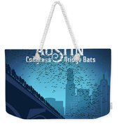 Austin Congress Bridge Bats In Blue Silhouette Weekender Tote Bag