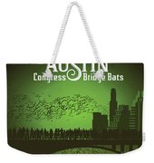 Austin Congress Bridge Bats In Green Silhouette Weekender Tote Bag