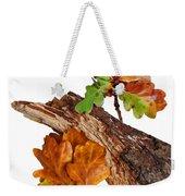 Autumn Oak Leaves And Acorns On White Weekender Tote Bag
