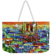 Barcelona Orange View - Sagrada Familia View From Park Guell - Abstract Palette Knife Oil Painting Weekender Tote Bag