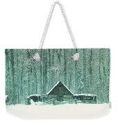 Barn In Snowfall Weekender Tote Bag
